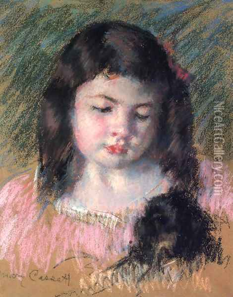 Bust Of Francoise Looking Down Oil Painting - Mary Cassatt