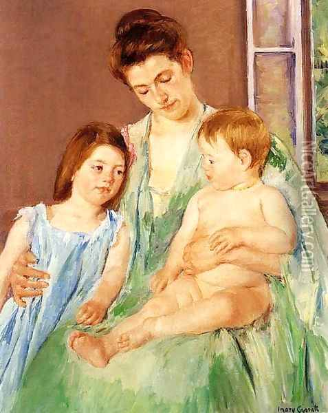 Young Mother And Two Children Oil Painting - Mary Cassatt