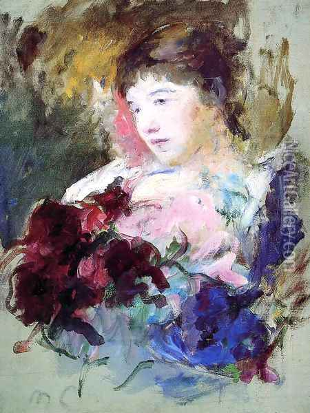 Young Girl Holding A Loose Bouquet Oil Painting - Mary Cassatt