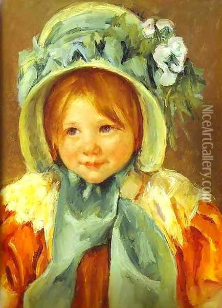Sarah In A Green Bonnet Oil Painting - Mary Cassatt