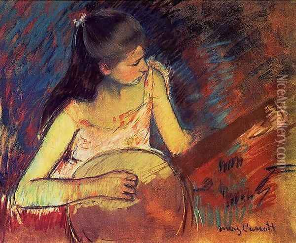 Girl With A Banjo Oil Painting - Mary Cassatt