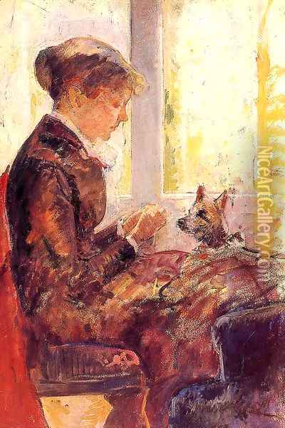 Woman By A Window Feeding Her Dog Oil Painting - Mary Cassatt