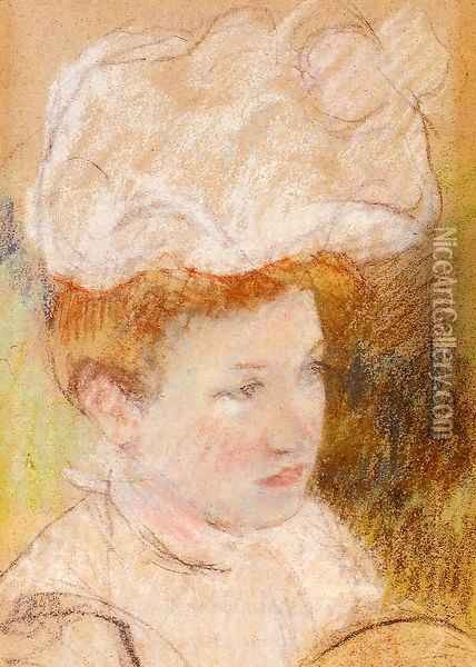 Leontine In A Pink Fluffy Hat Oil Painting - Mary Cassatt