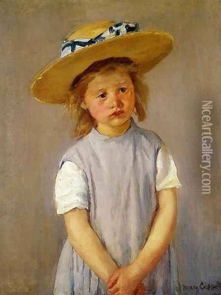 Little Girl In A Big Straw Hat And A Pinnafore Oil Painting - Mary Cassatt