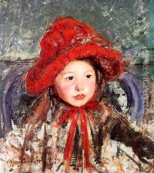Little Girl In A Large Red Hat Oil Painting - Mary Cassatt