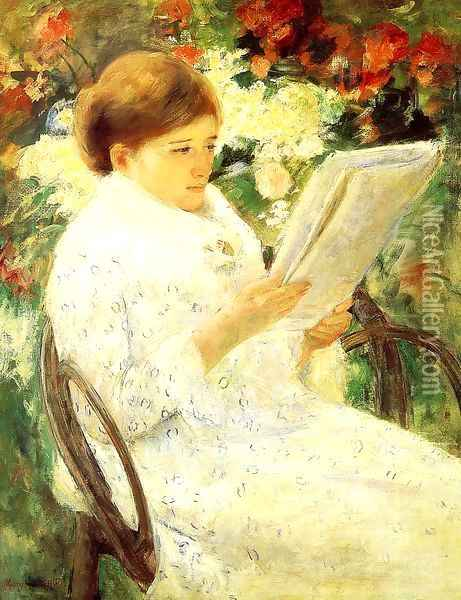 Woman Reading In A Garden Oil Painting - Mary Cassatt
