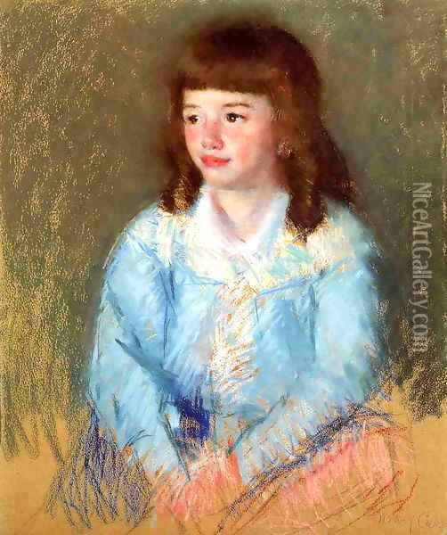 Young Boy In Blue Oil Painting - Mary Cassatt