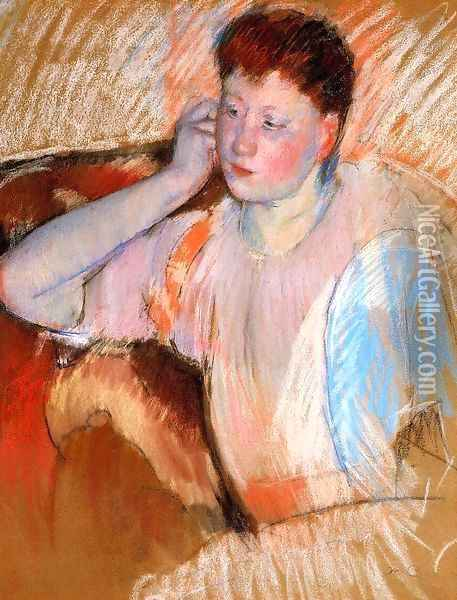 Clarissa Turned Left With Her Hand To Her Ear Oil Painting - Mary Cassatt