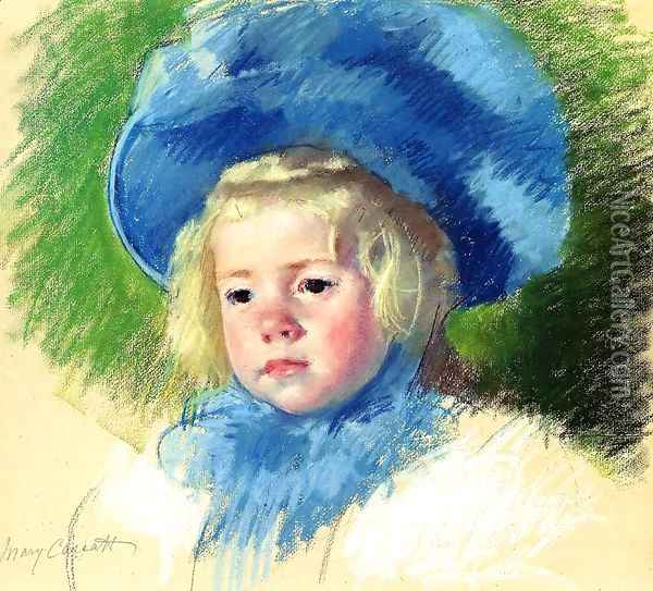 Head Of Simone In A Large Plumes Hat Looking Left Oil Painting - Mary Cassatt
