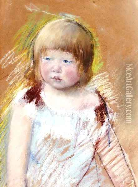 Child With Bangs In A Blue Dress Oil Painting - Mary Cassatt