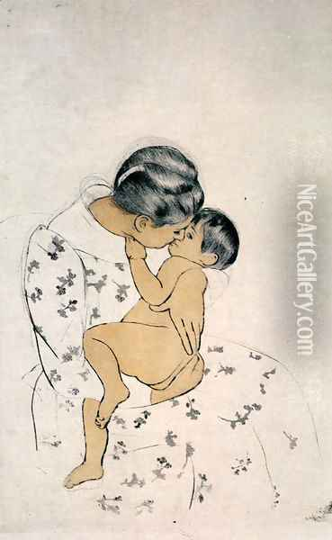 Mother's Kiss Oil Painting - Mary Cassatt