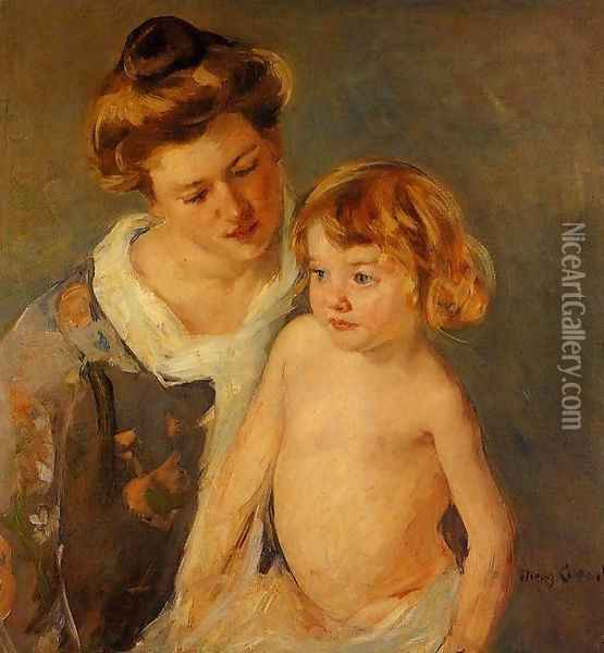 Jules Standing By His Mother Oil Painting - Mary Cassatt