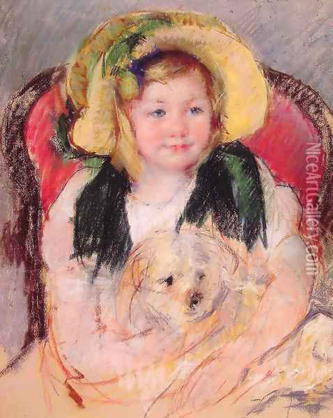 Sara With Her Dog In An Armchair Wearing A Bonnet With A Plum Ornament Oil Painting - Mary Cassatt