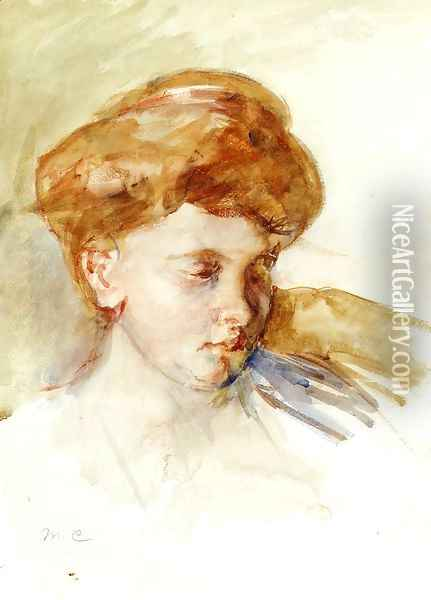 Head Of A Young Woman Oil Painting - Mary Cassatt