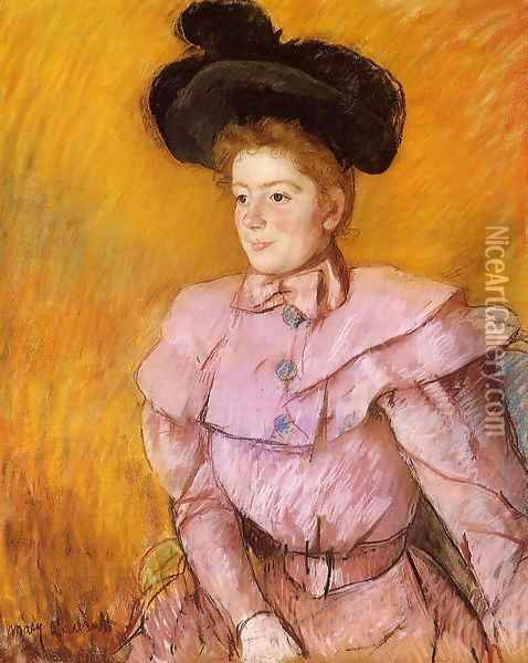 Woman In A Black Hat And A Raspberry Pink Costume Oil Painting - Mary Cassatt