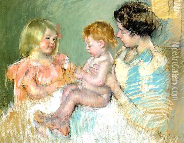 Sara And Her Mother With The Baby Oil Painting - Mary Cassatt
