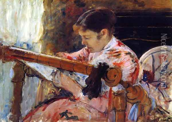 Lydia Seated At An Embroidery Frame Oil Painting - Mary Cassatt