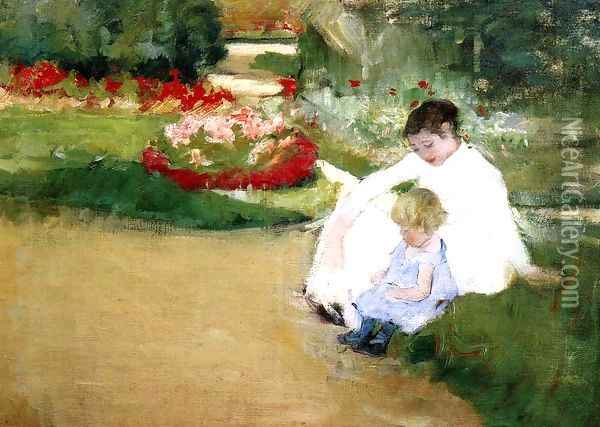 Woman And Child Seated In A Garden Oil Painting - Mary Cassatt