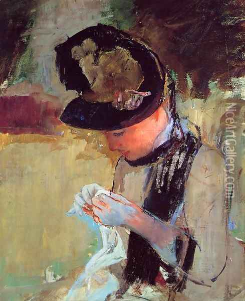 Young Woman Sewing In The Garden Oil Painting - Mary Cassatt