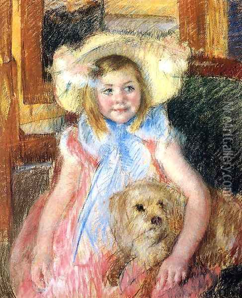 Sara In A Large Flowered Hat Looking Right Holding Her Dog Oil Painting - Mary Cassatt
