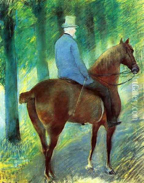 Mr Robert S Cassatt On Horseback Oil Painting - Mary Cassatt