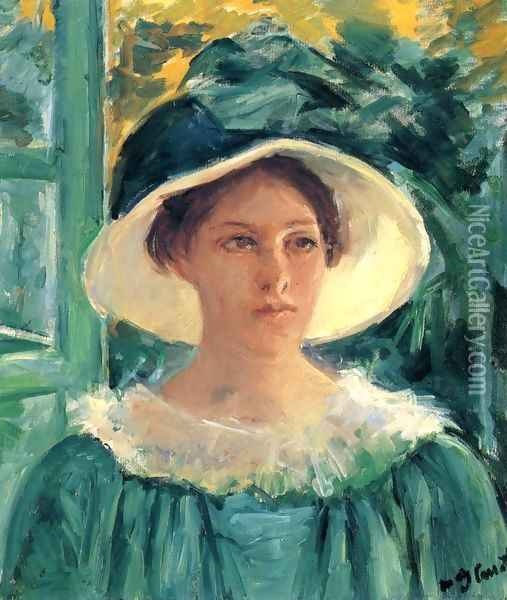 Young Woman In Green, Outdoors In The Sun Oil Painting - Mary Cassatt