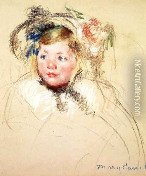 Head Of Sara In A Bonnet Looking Left Oil Painting - Mary Cassatt