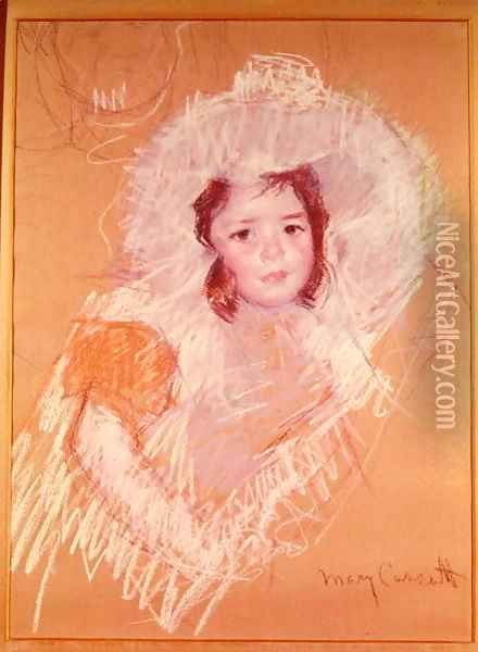 Bust of a Young Girl or Margot Lux with a Large Hat Oil Painting - Mary Cassatt