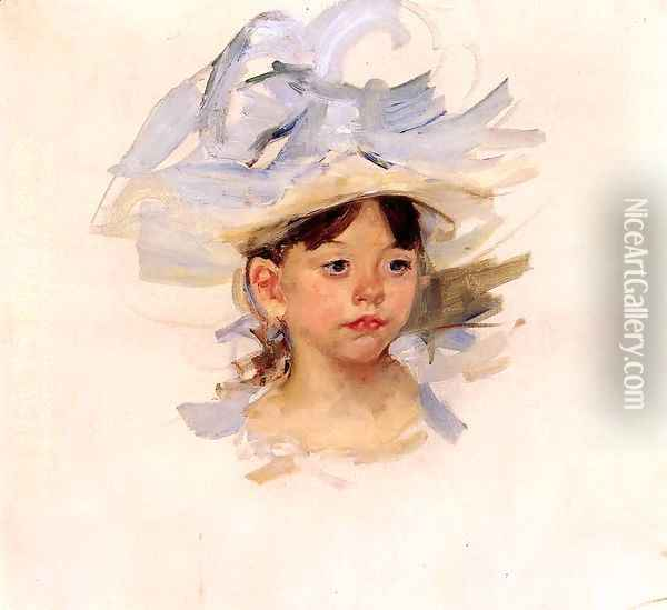 Sketch Of Ellen Mary Cassatt In A Big Blue Hat Oil Painting - Mary Cassatt