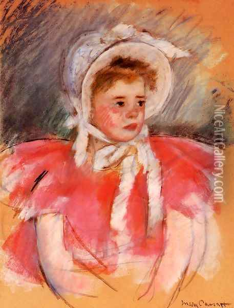 Simone In White Bonnet Seated With Clasped Hands Oil Painting - Mary Cassatt