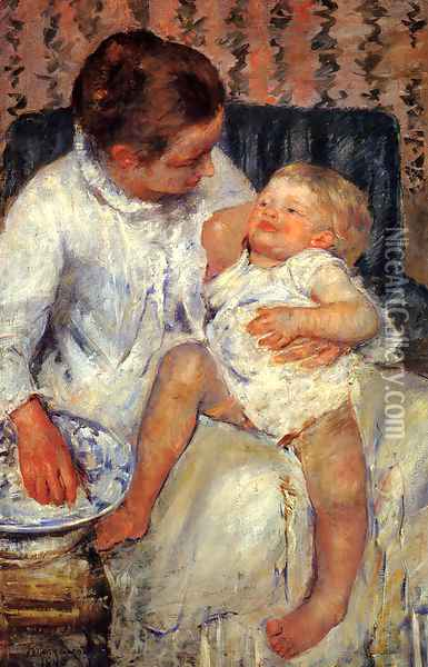Mother about to Wash her Sleepy Child, 1880 Oil Painting - Mary Cassatt