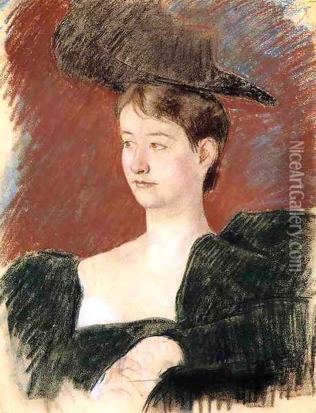 Portrait Of A Young Woman In Green Oil Painting - Mary Cassatt