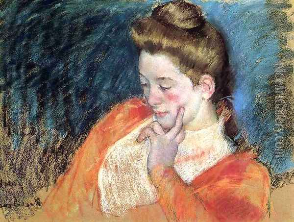 Portrait Of A Young Woman Oil Painting - Mary Cassatt