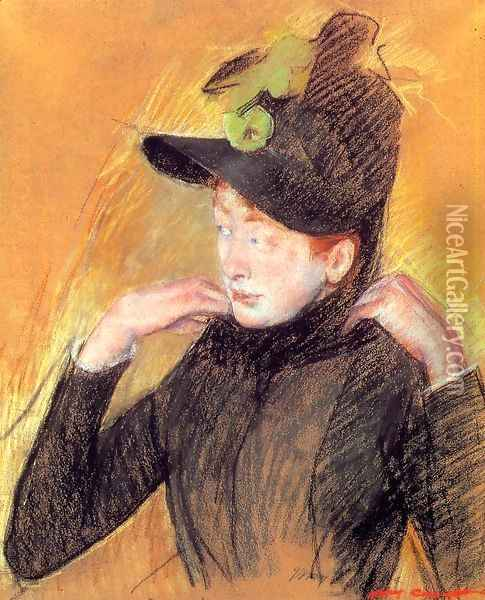 Woman Arranging Her Veil Oil Painting - Mary Cassatt