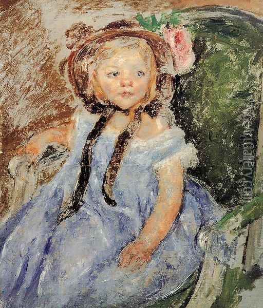 Sara In Dark Bonnet With Right Hand On Arm Of Chair Oil Painting - Mary Cassatt