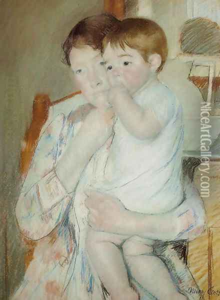 Mother and Child Against a Green Background or Maternity Oil Painting - Mary Cassatt