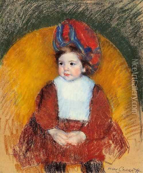 Margot In A Dark Red Costume Seated On A Round Backed Chair Oil Painting - Mary Cassatt