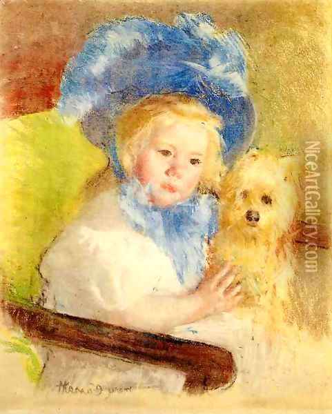 Simone In A Large Plumed Hat Seated Holding A Griffon Dog Oil Painting - Mary Cassatt