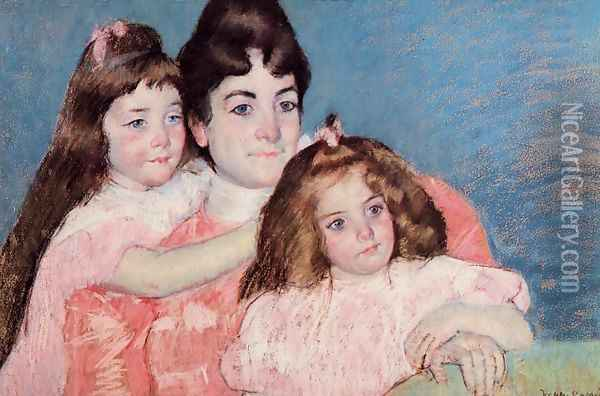 Portrait Of Madame A F Aude And Her Two Daughters Oil Painting - Mary Cassatt