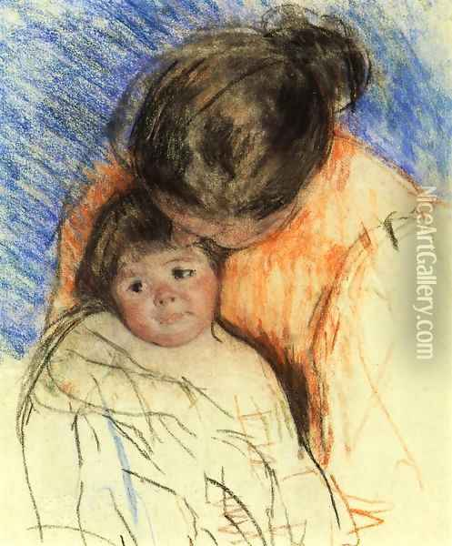 Sketch Of Mother Looking Down At Thomas Oil Painting - Mary Cassatt