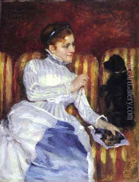 Woman On A Striped With A Dog Aka Young Woman On A Striped Sofa With Her Dog Oil Painting - Mary Cassatt