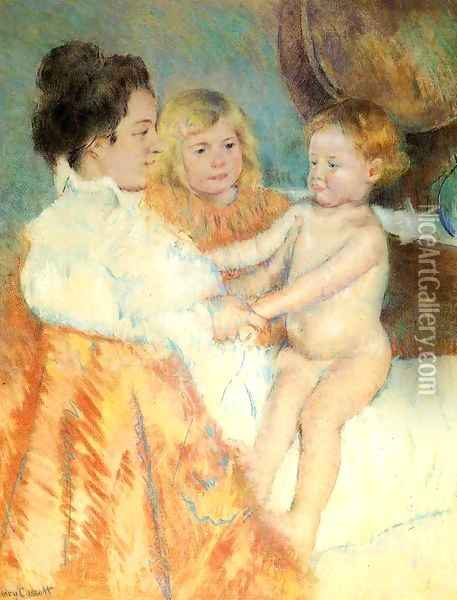 Mother, Sara and the Baby (counterproof) Oil Painting - Mary Cassatt