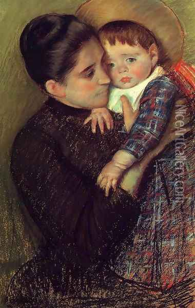 Woman and Her Child Oil Painting - Mary Cassatt