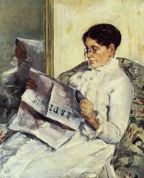 Portrait of a Lady (or Reading 'Le Figaro') Oil Painting - Mary Cassatt