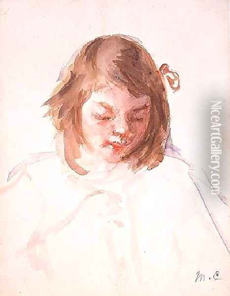 Head of Francoise Looking Down (no.4) Oil Painting - Mary Cassatt