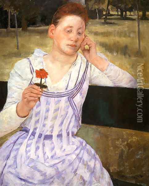 Woman With A Red Zinnia Oil Painting - Mary Cassatt