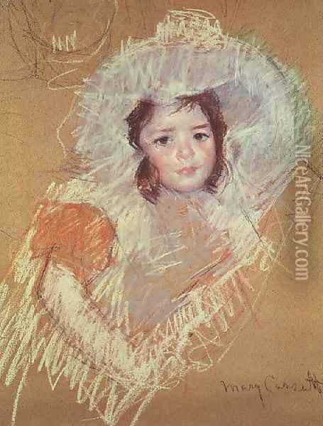 Head of a young girl 3 Oil Painting - Mary Cassatt