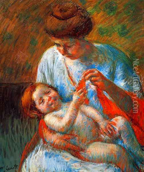 Baby Lying on His Mother's Lap, Reaching to Hold a Scarf Oil Painting - Mary Cassatt