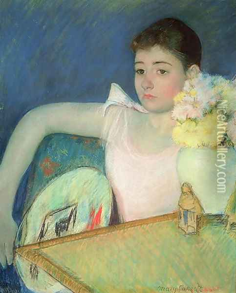 Girl in Pink with a Fan, c.1889 Oil Painting - Mary Cassatt
