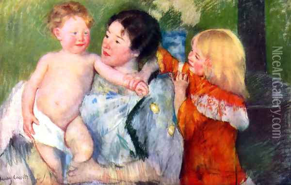 After bath Oil Painting - Mary Cassatt